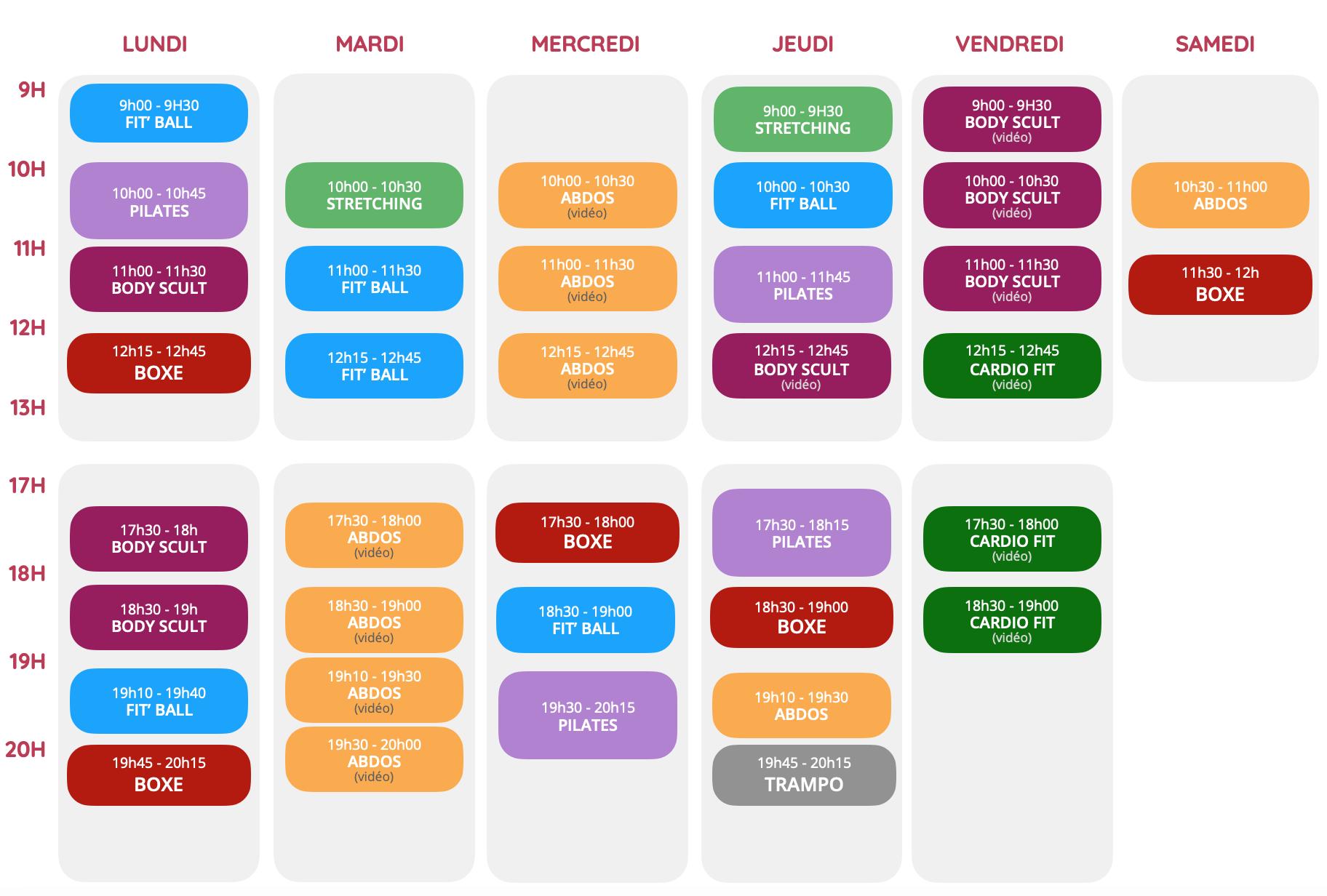 Planning cours collectifs profilfit